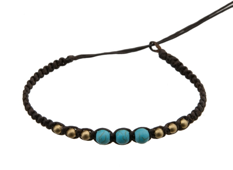Bracelet bresilien en fil tress noir avec 3 perles turquoise laiton - Longueur fil bracelet bresilien ...