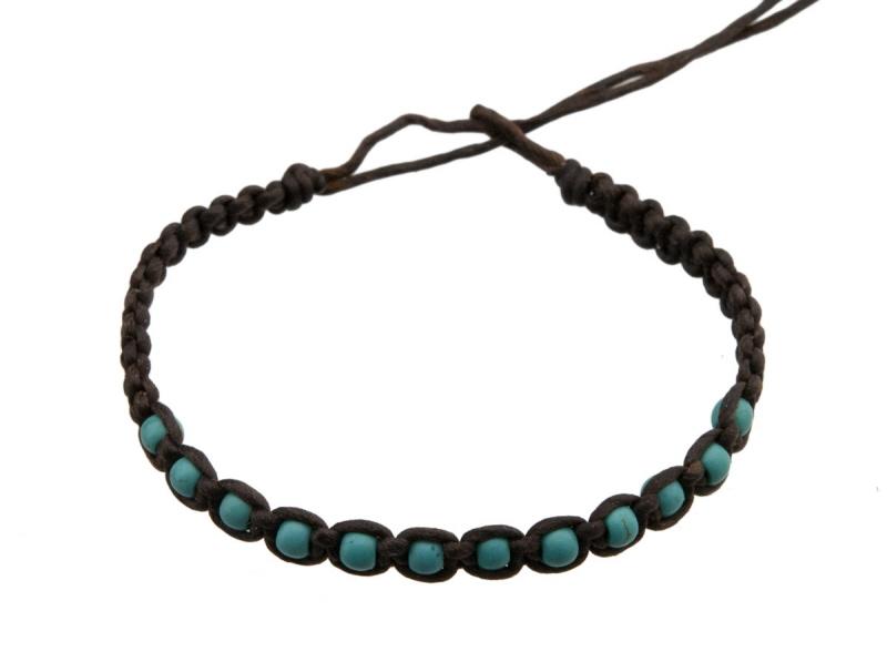 Bresilien Perles Multi Turquoise Bracelet Fil Marron vN8n0wm