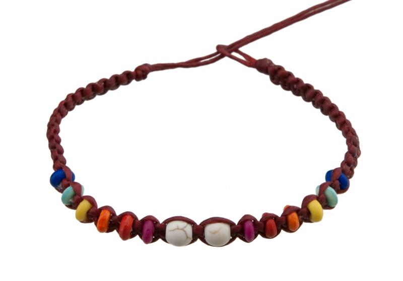 Bracelet bresilien fil cir rouge perles multicolores - Longueur fil bracelet bresilien ...