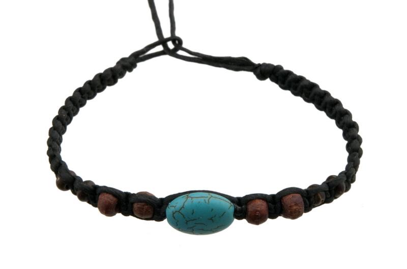 Bracelet bresilien en fil tress noir avec perle turquoise - Longueur fil bracelet bresilien ...