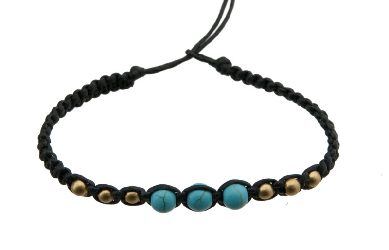 Bracelet bresilien en fil tress marron avec 3 perles turquoise laiton - Longueur fil bracelet bresilien ...