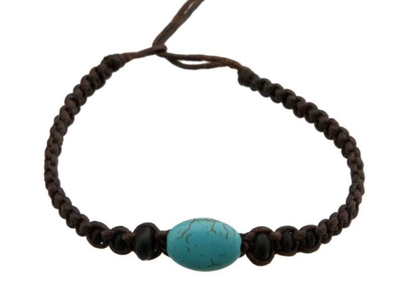 Bracelet bresilien en fil tress marron avec perle turquoise - Longueur fil bracelet bresilien ...