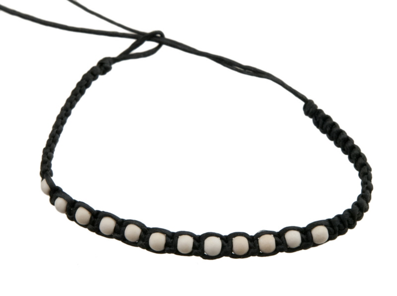 Bracelet bresilien fil tresse noir multi perles blanche - Longueur fil bracelet bresilien ...