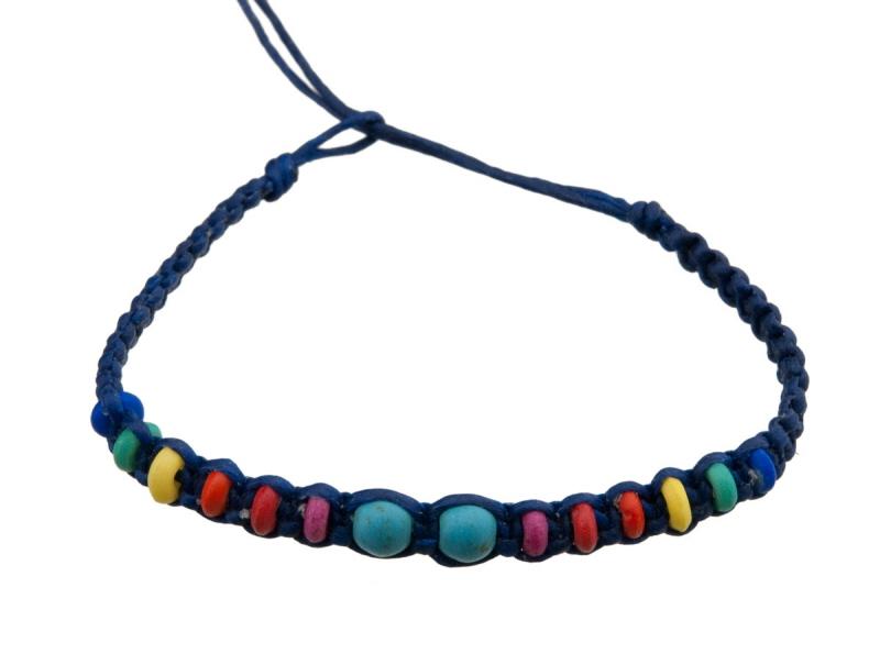 bracelet bresilien fil tress bleu avec perles turquoise. Black Bedroom Furniture Sets. Home Design Ideas