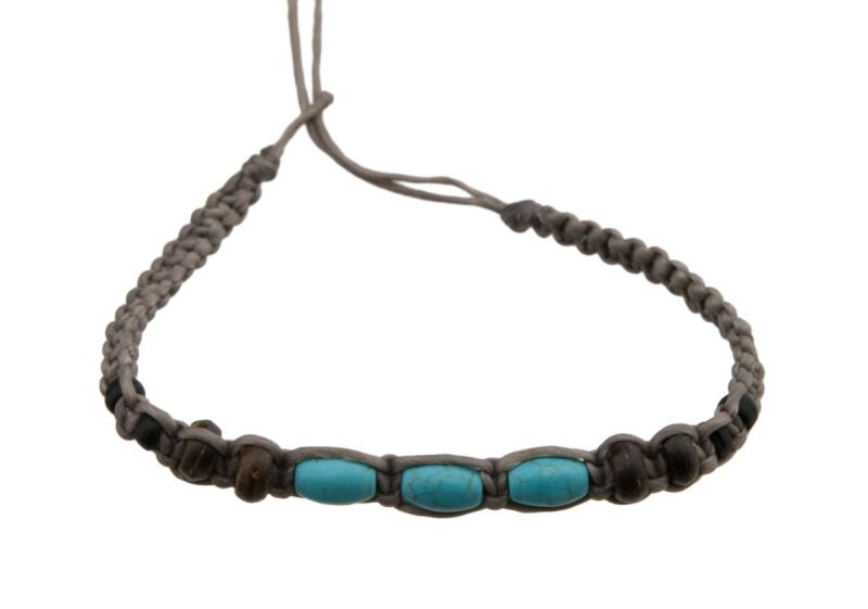 Bracelet bresilien en fil tress avec 3 perles turquoise - Longueur fil bracelet bresilien ...