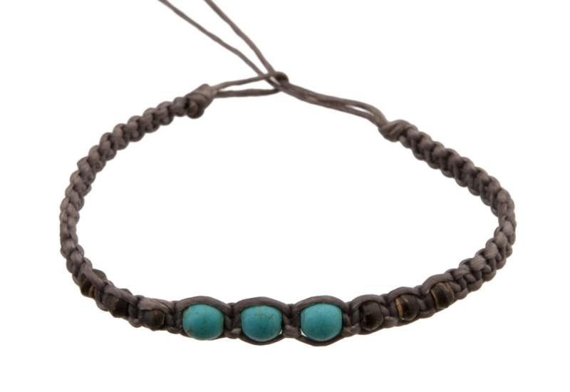 Bracelet bresilien perles turquoise - Longueur fil bracelet bresilien ...