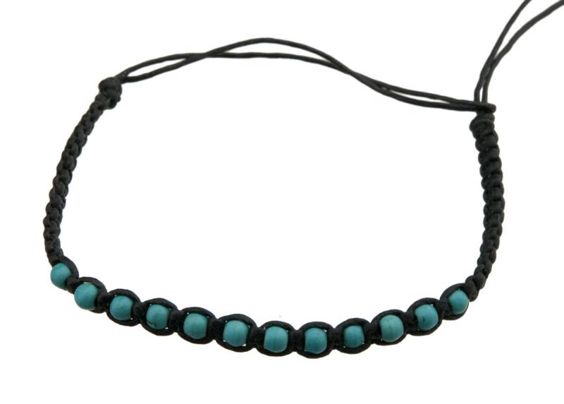 Bracelet bresilien cheville fil noir perles turquoise - Longueur fil bracelet bresilien ...