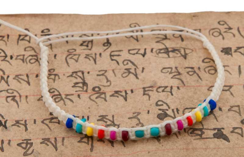 Bracelet bresilien blanc creme et perles multicolores 8295 - Longueur fil bracelet bresilien ...