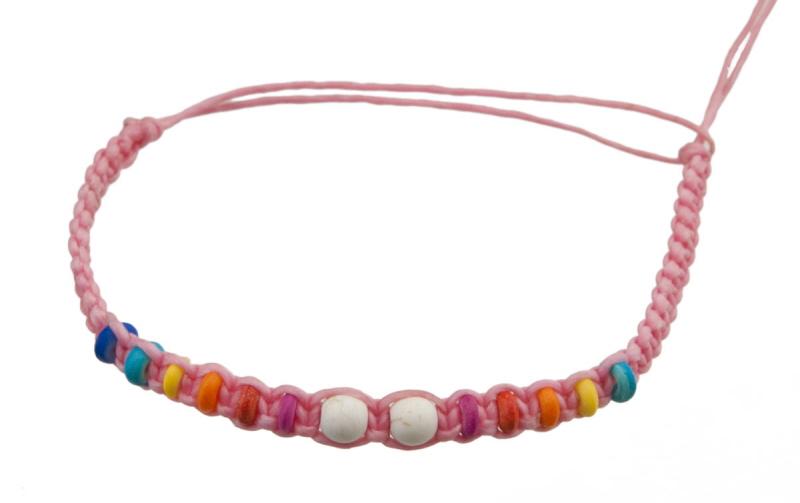 Bracelet bresilien rose clair avec perles multicolores - Longueur fil bracelet bresilien ...