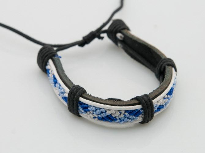 Bracelet cuir bracelet tress bracelet bresilien cuir bijoux en cuir bracelet surfeur - Fil bleu tarif ...