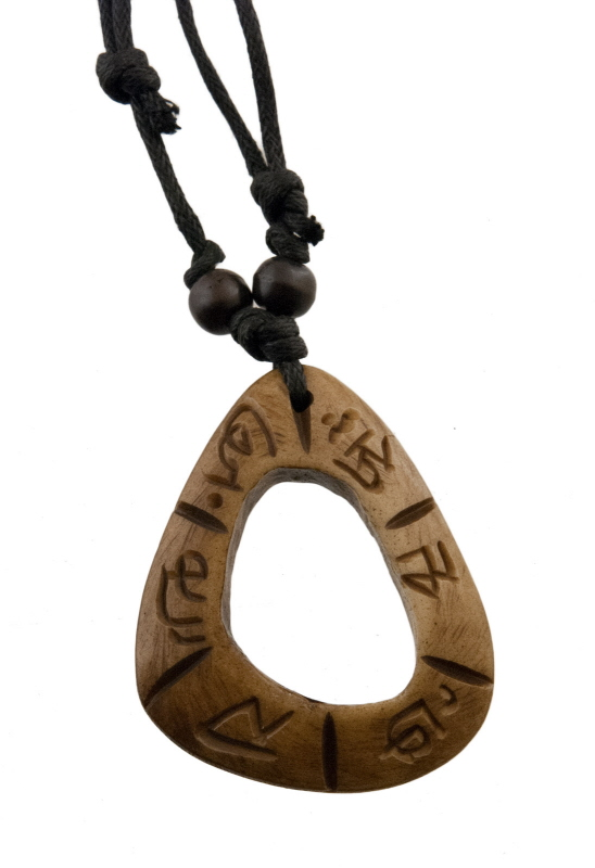 Collier bouddhiste-pendentif tibetain-om et mantra-GAR4-3834