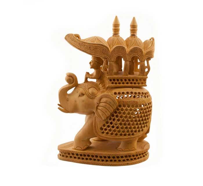 Elephant bois sculpture indienne sur bois de kadam for Objet artisanat d art