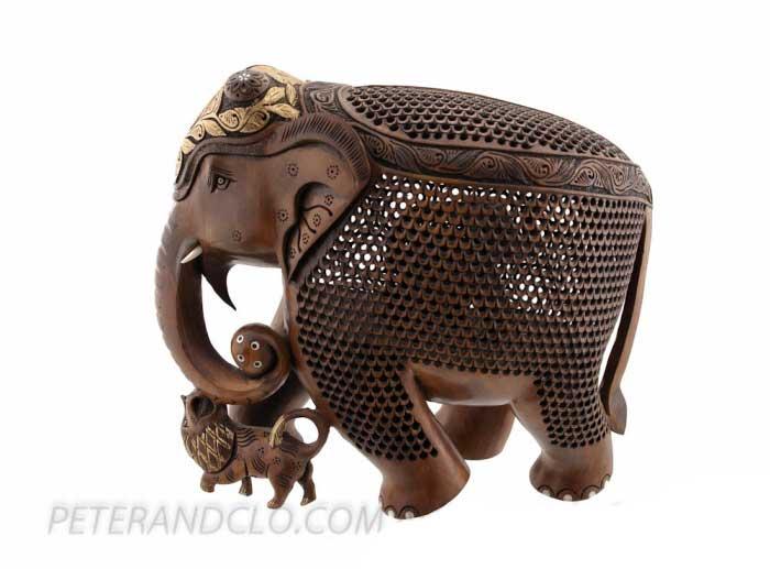 D Elephant Menu Elephant bois-sculptur...
