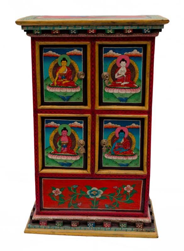 ancien meuble tibetain avec tiroir bouddha et lotus. Black Bedroom Furniture Sets. Home Design Ideas
