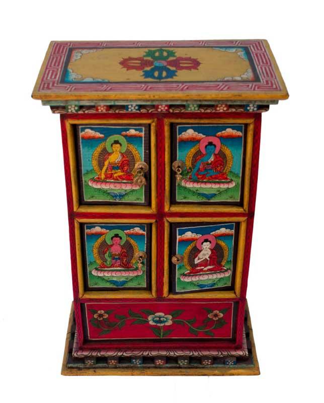Meuble tibetain bouddhiste bouddha ancien for Meuble tibetain