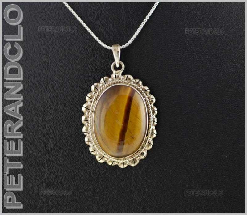 96e086bd7aa Pendentif tibetain Argent et Pierre Oeil de Tigre Bijou Creation artisanale