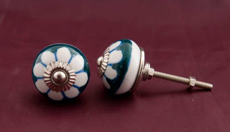 2 poign es de meuble ronde bouton de tiroir en porcelaine. Black Bedroom Furniture Sets. Home Design Ideas