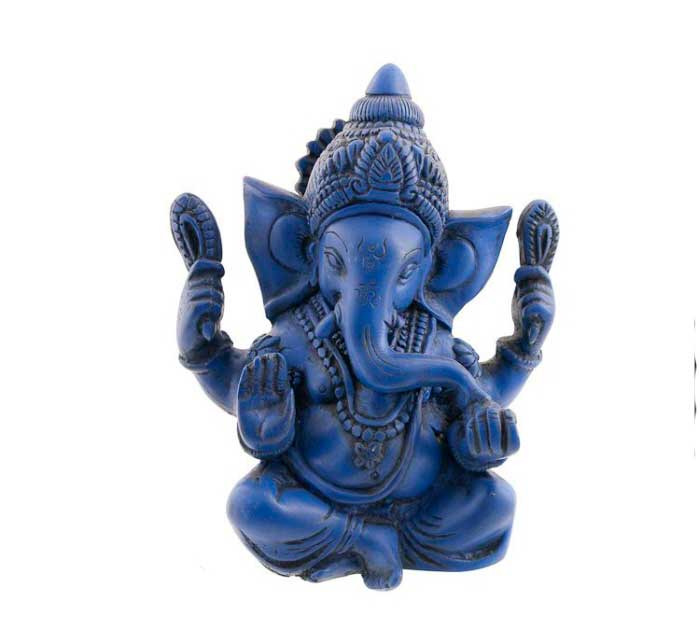 statue de ganesh elephant en resine porte bonheur ganesha lapis lazuli 1115. Black Bedroom Furniture Sets. Home Design Ideas