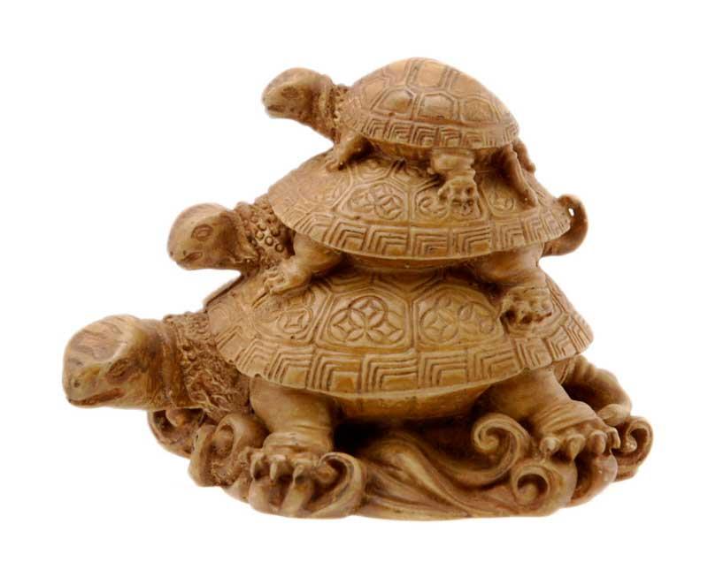 Statue Figurine 3 Tortues De L Harmonie Feng Shui En Resine Beige