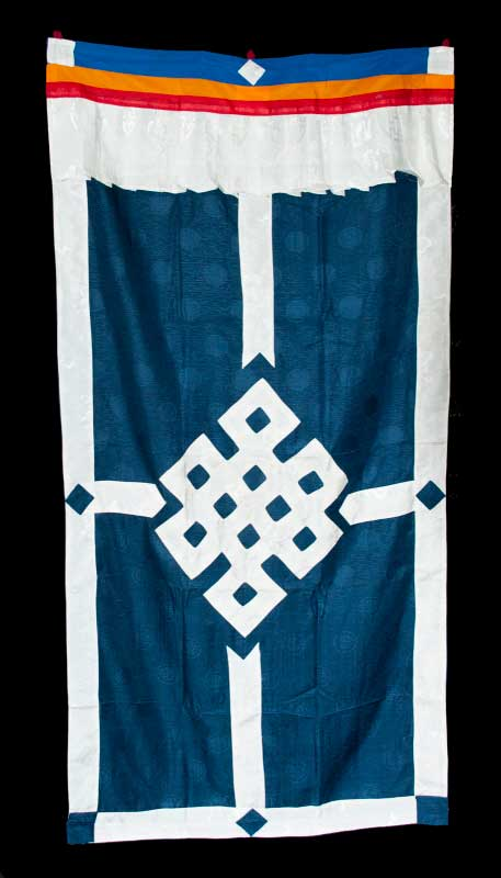 tenture de porte tibetaine noeud sans fin sur tissu brocart rideau de porte tib tain. Black Bedroom Furniture Sets. Home Design Ideas