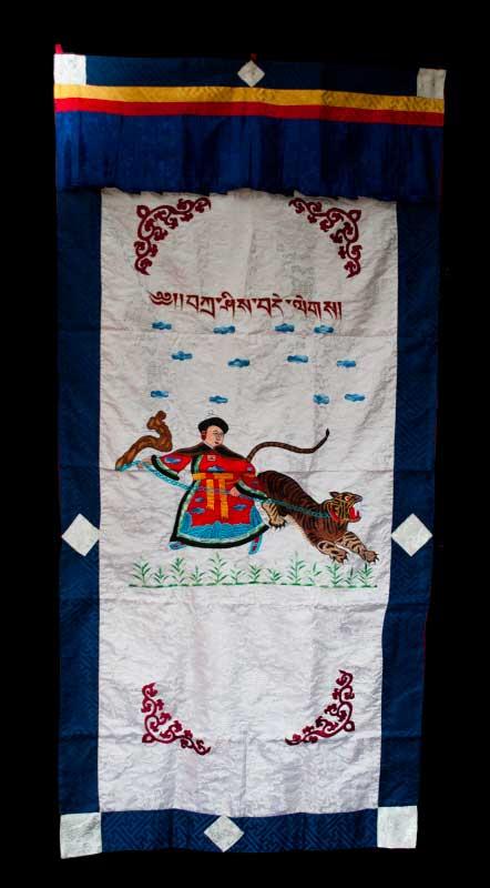 tenture de porte tibetaine om mani padme hum brod s rideau de porte tib tain. Black Bedroom Furniture Sets. Home Design Ideas