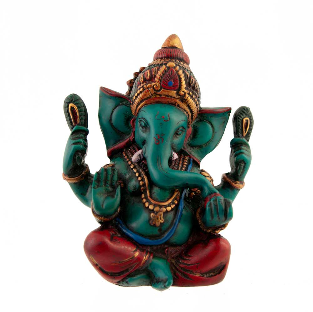 statue de ganesh elephant en resine peint a la main porte bonheur ganesha 1115z2. Black Bedroom Furniture Sets. Home Design Ideas