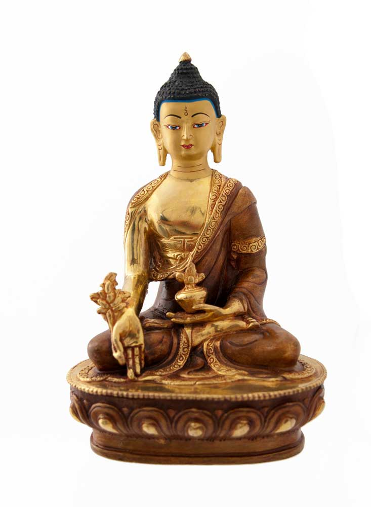 statue de bouddha gautama copper et or nepal statues. Black Bedroom Furniture Sets. Home Design Ideas