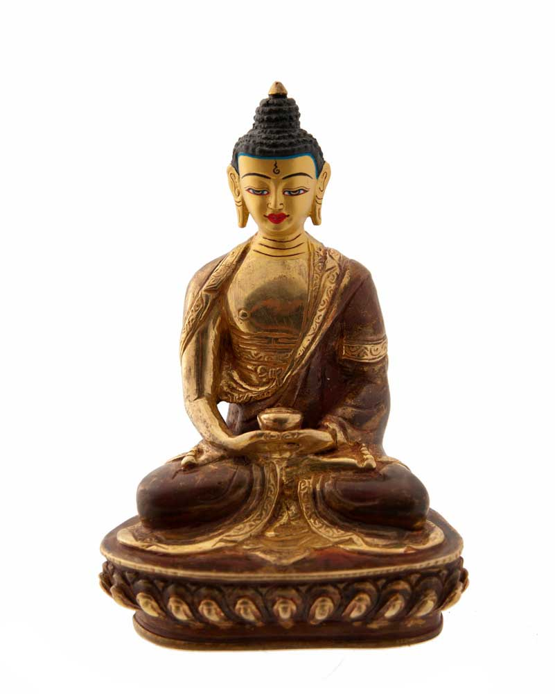 statue tibetaine bouddha amitabha cuivre et or nepal. Black Bedroom Furniture Sets. Home Design Ideas