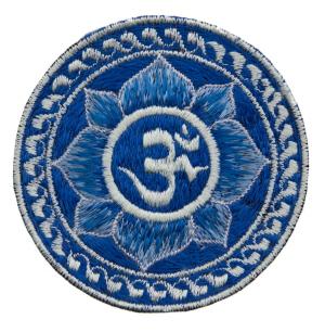 ecusson brod fleur lotus om bleu bouddhiste fait main tibet nepal 1812