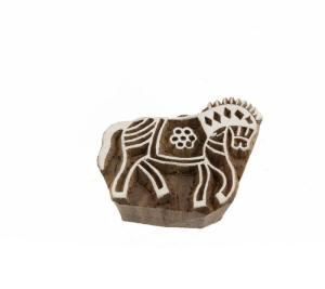 Tampon encreur en bois elephant Inde Peterandclo  B2 B